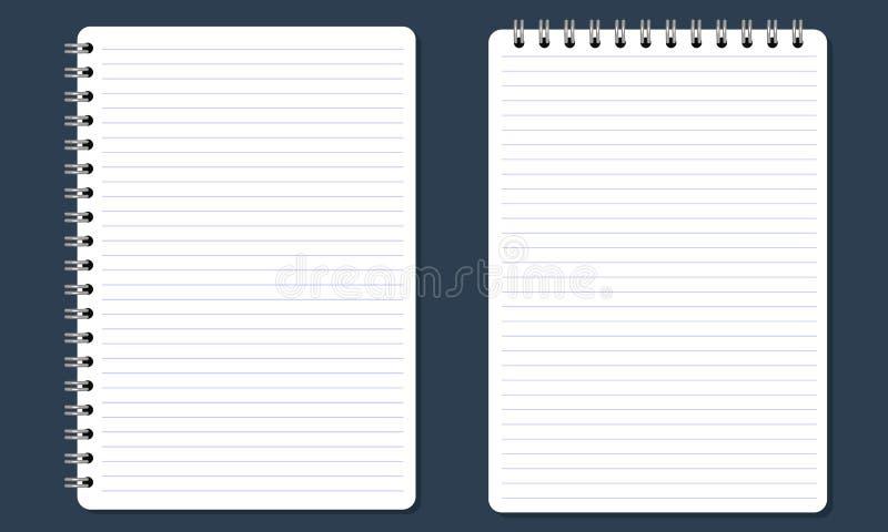 Cuaderno espiral en blanco de la libreta con las líneas Color plano y aislado stock de ilustración
