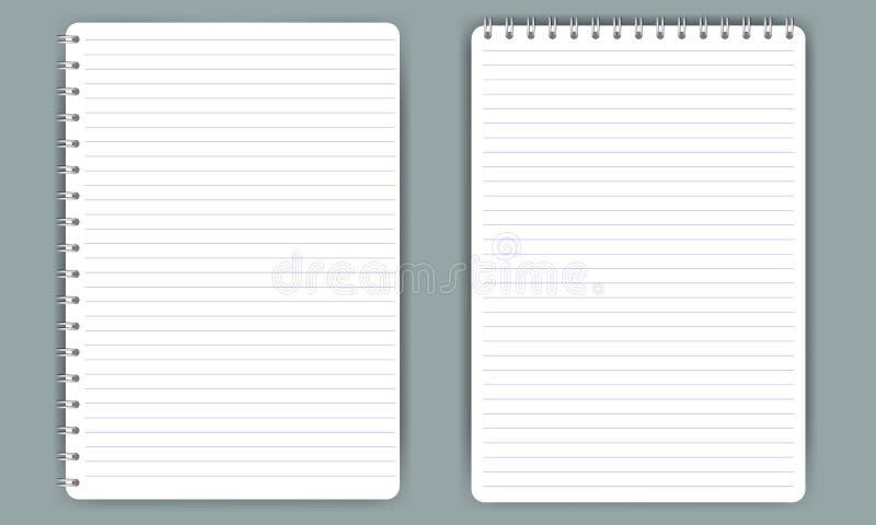 Cuaderno espiral realista en blanco de la libreta aislado en el vector blanco ilustración del vector