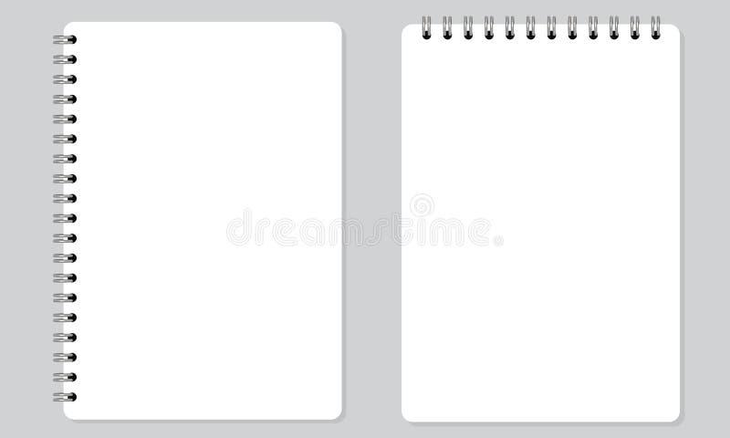 Cuaderno espiral realista en blanco de la libreta con color plano sólido Aislado stock de ilustración