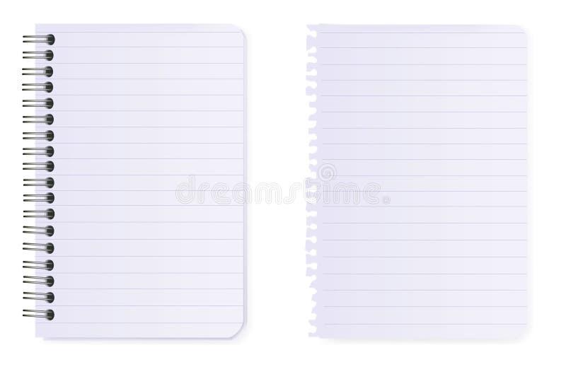Cuaderno Espiral Y Papel De Nota. Vector. Fotos de archivo libres de regalías