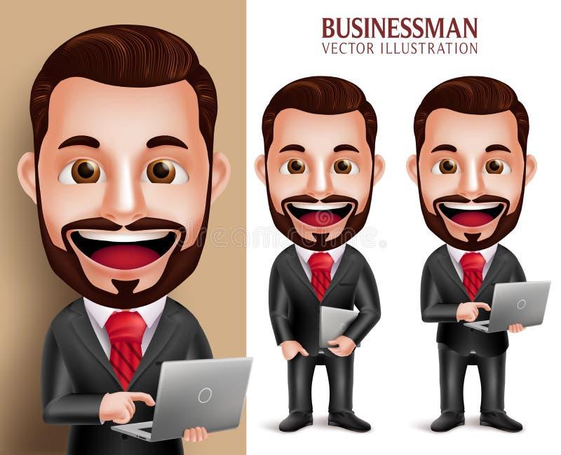 Cuaderno feliz del ordenador portátil del carácter del vector del hombre de negocios que se sostiene stock de ilustración
