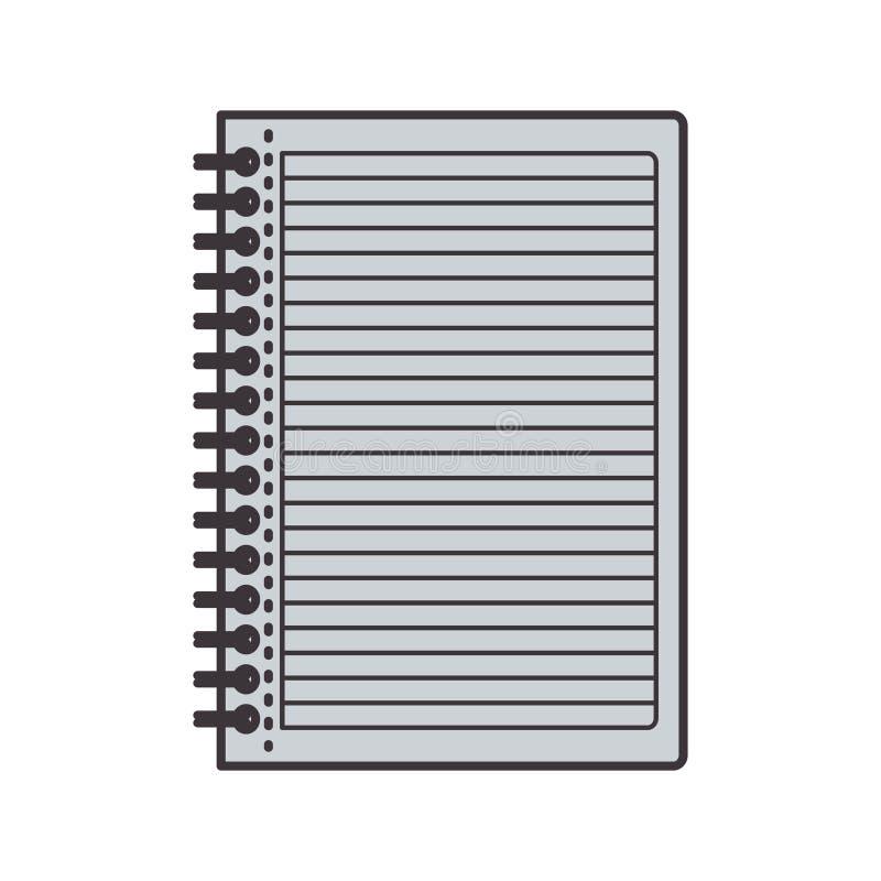 Cuaderno gris de la silueta con los anillos libre illustration