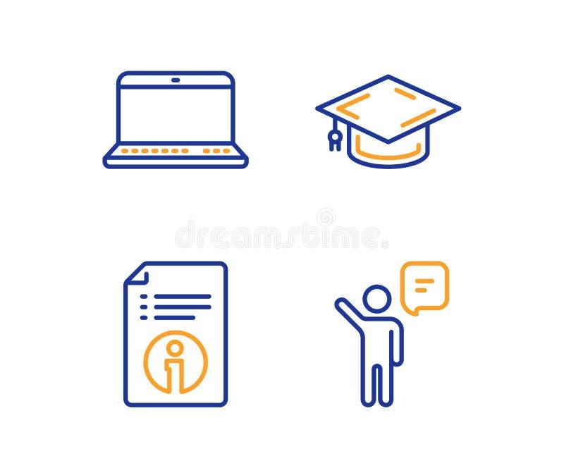 Cuaderno, informaci?n t?cnica y sistema de los iconos del casquillo de la graduaci?n Muestra del agente Ordenador port?til, docum ilustración del vector