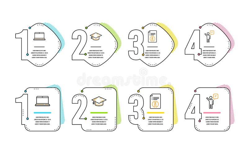Cuaderno, informaci?n t?cnica y sistema de los iconos del casquillo de la graduaci?n Muestra del agente Ordenador port?til, docum stock de ilustración