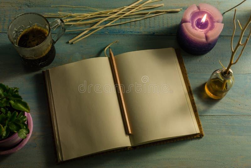 Cuaderno, lápiz, velas perfumadas, aceites esenciales, ramas de árbol, pequeños árboles en los potes, tazas de café En un vector  fotos de archivo