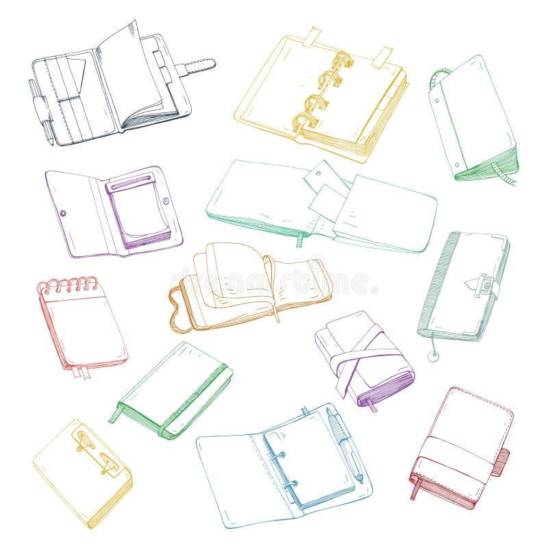Cuaderno, libreta, planificador, organizador, sistema dibujado mano del sketchbook Colección de ejemplos coloridos ilustración del vector