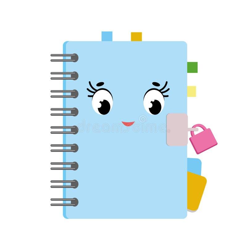 Cuaderno lindo de la historieta en un espiral en una cubierta azul con las señales coloreadas Carácter lindo con una cerradura Il ilustración del vector