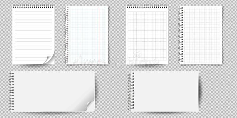 Cuaderno o libreta realista con la carpeta aislada Cuaderno de notas o diario de la nota con las plantillas de la página del pape stock de ilustración