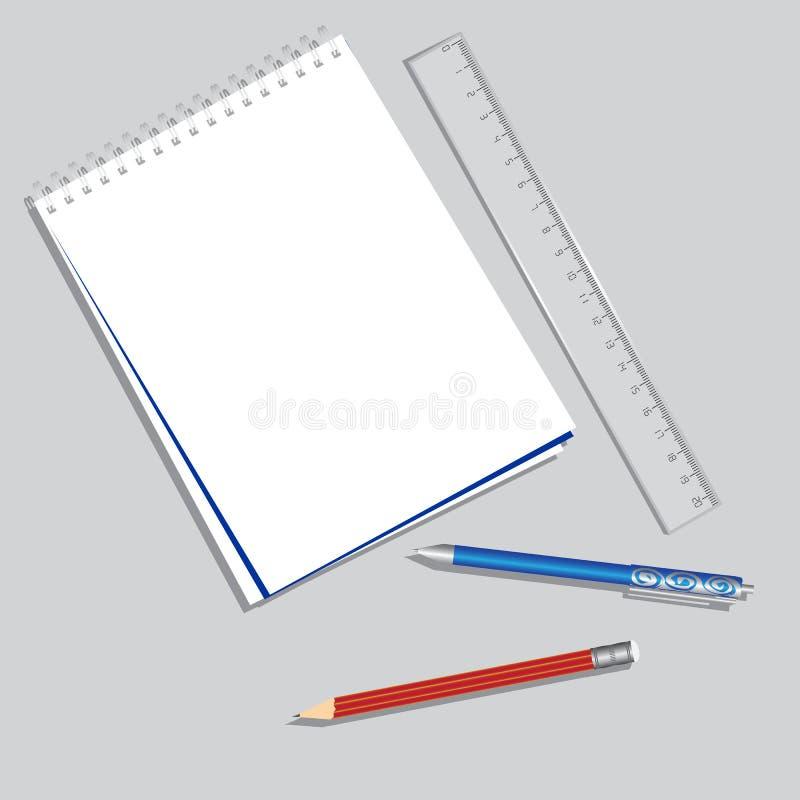 Cuaderno, pluma, lápiz imagen de archivo libre de regalías