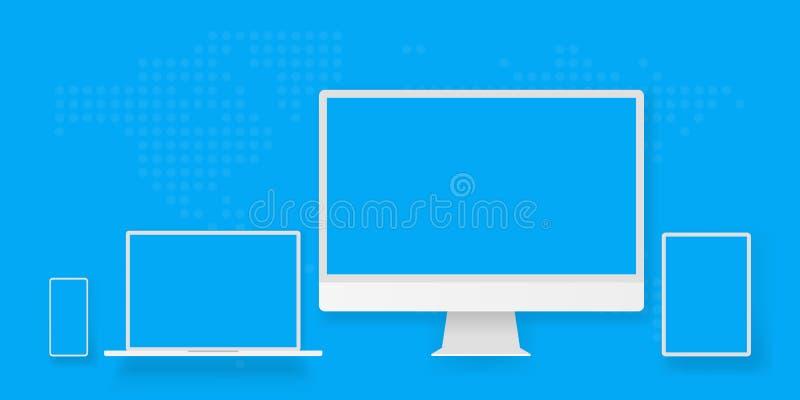 Cuaderno portátil u ordenador portátil de equipo de escritorio de visualización de la pantalla de la tableta blanca del smartphon stock de ilustración