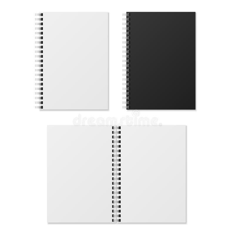 Cuaderno realista Cuadernos espirales abiertos y cerrados en blanco de la carpeta La plantilla de papel del vector del organizado ilustración del vector