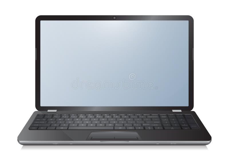 Cuaderno realista del ordenador portátil 3d con la pantalla vacía en el fondo blanco libre illustration