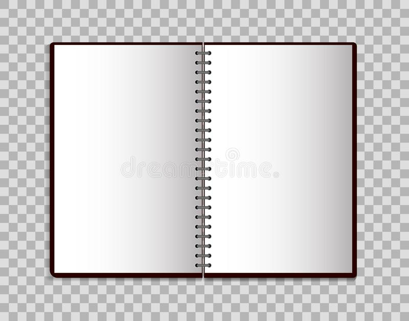 Cuaderno realista en estilo de la maqueta Libreta en blanco abierta con espiral Plantilla de la libreta vacía en fondo aislado Ve stock de ilustración
