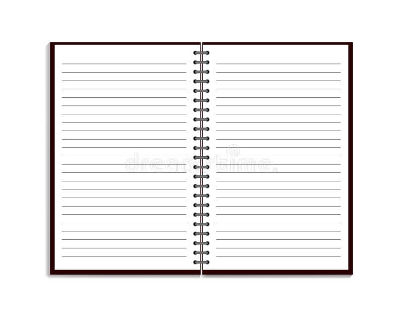 Cuaderno realista en estilo de la maqueta Libreta en blanco con espiral Plantilla de la libreta vacía con las líneas en el fondo  libre illustration
