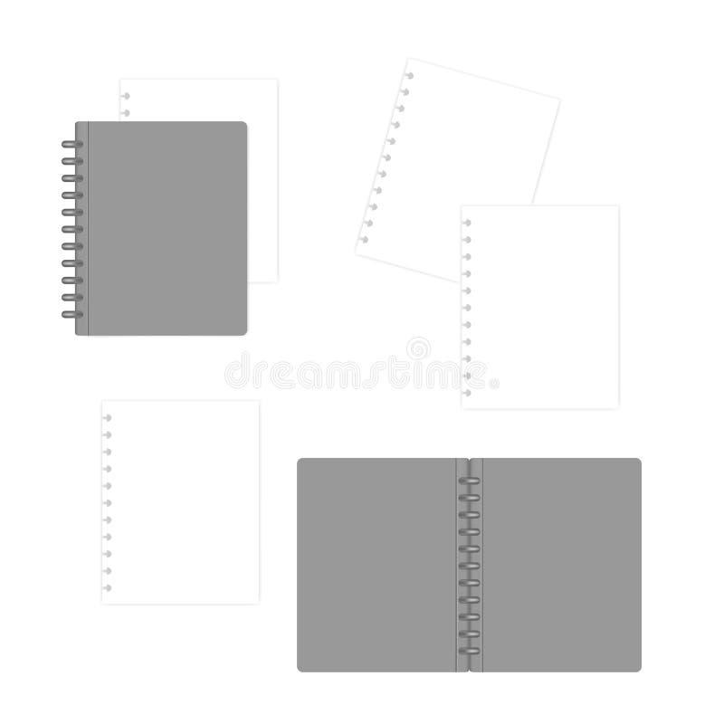 Cuaderno recargable encuadernado con las hojas de papel del llenador blanco, maqueta del disco stock de ilustración