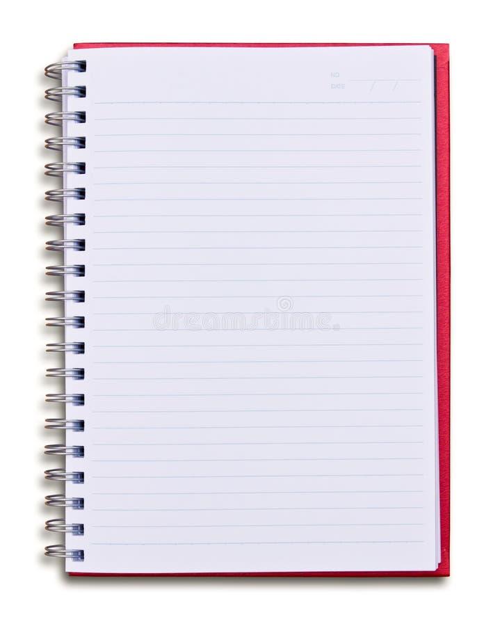 Cuaderno rojo aislado imagen de archivo libre de regalías
