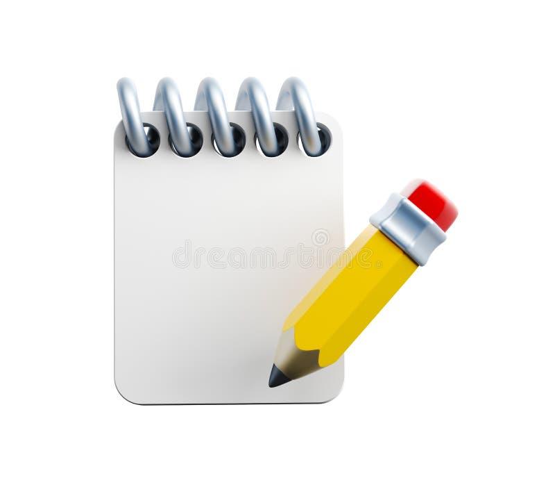 Cuaderno y lápiz ilustración del vector