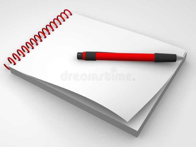 Cuaderno y la pluma ilustración del vector