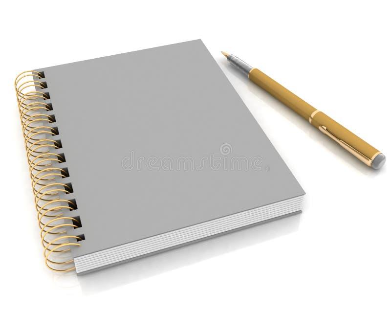 Cuaderno y pluma ilustración del vector