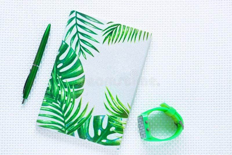 Cuaderno y pluma verdes de la moda en el fondo texturizado blanco Visi?n superior, endecha plana imagen de archivo libre de regalías