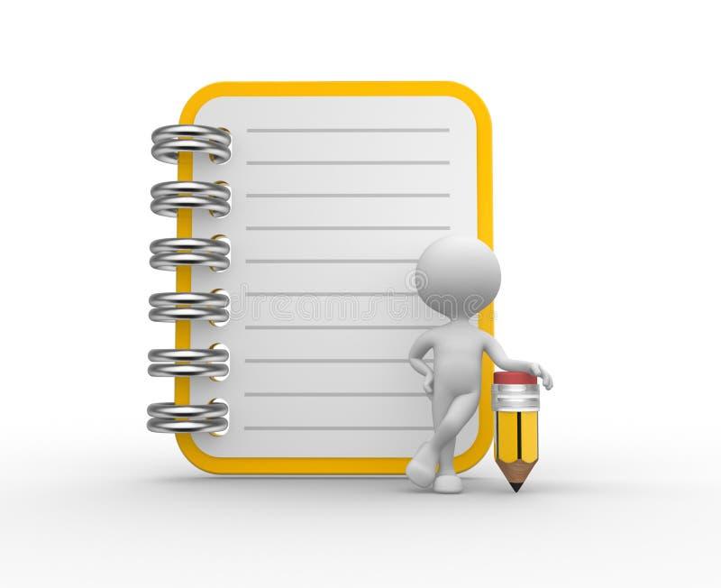 Cuaderno y un lápiz. libre illustration