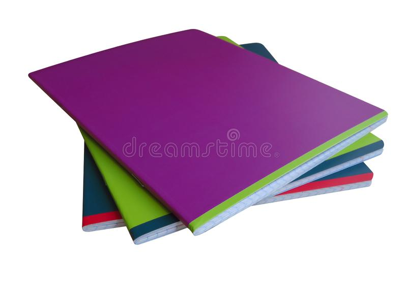 Cuadernos aislados - colorido fotos de archivo