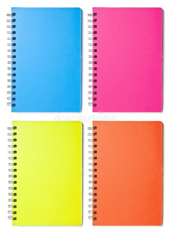 Cuadernos en blanco del color imagenes de archivo