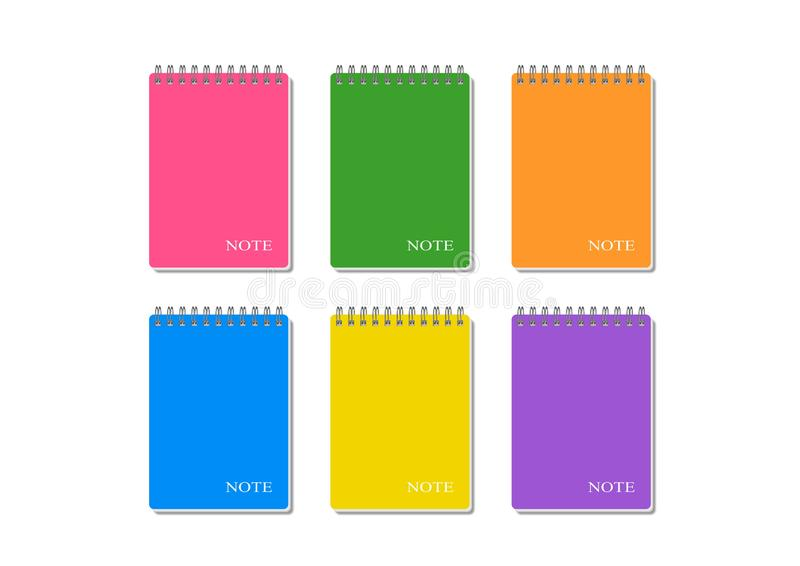 Cuadernos espirales coloreados con la nota de la inscripción stock de ilustración