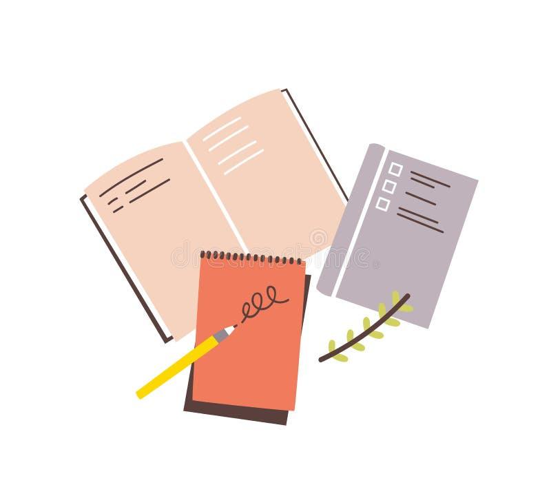 Cuadernos, libretas, cojines de nota, planificadores, organizadores para hacer notas de la escritura y escribirlas rápidamente ai ilustración del vector