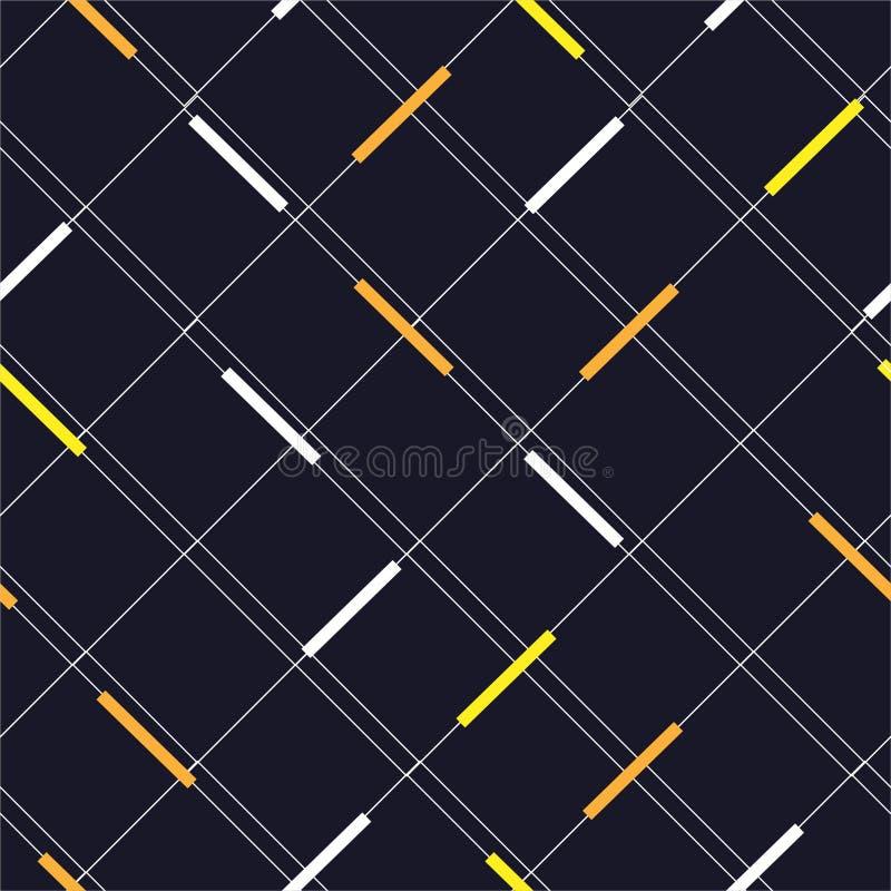 Cuadrícula minima con manchas amarillas y blancas estilo moderno diagonal, Diseño para moda, fondo, papel pintado, tela, envoltu ilustración del vector