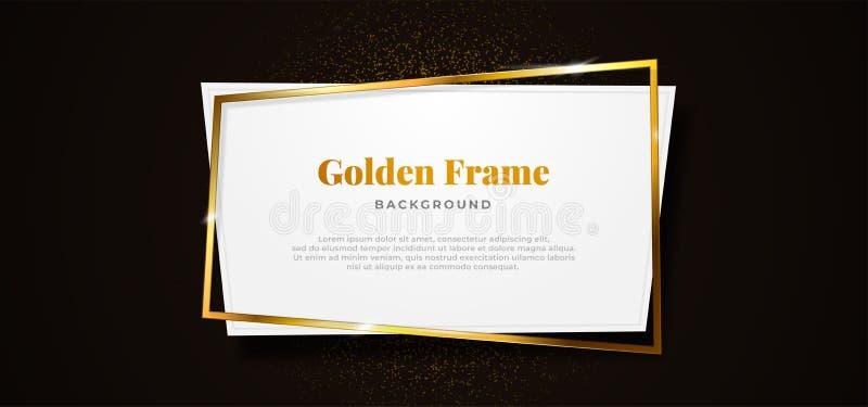 Cuadrado abstracto dorado con forma de tablero de papel blanco limpio sobre ilustración vectorial de fondo negro oscuro. plantill ilustración del vector