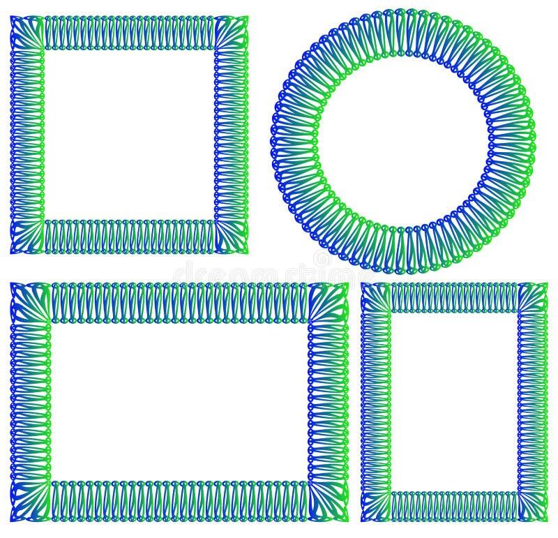 Cuadrado Azul Y Verde, Ronda, Marco Rectangular Ilustración del ...