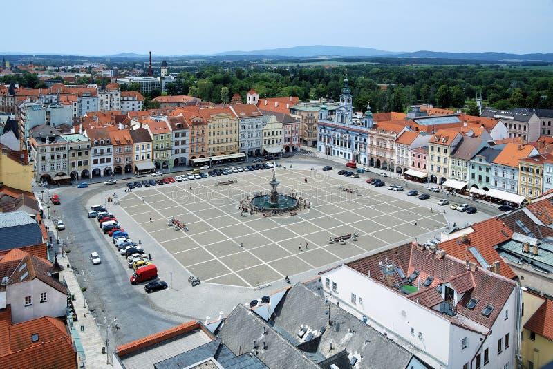 Cuadrado central de Ceske Budejovice, República Checa imágenes de archivo libres de regalías