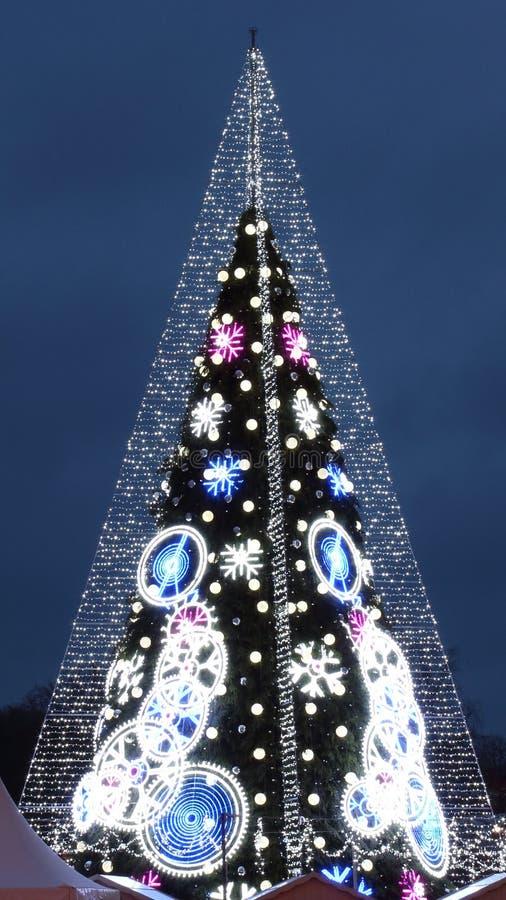 Cuadrado central de la catedral en Vilna, Lituania, árbol de navidad 2018 imagenes de archivo