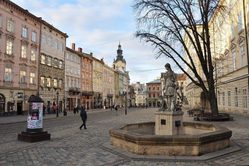 Cuadrado central de Lviv foto de archivo libre de regalías