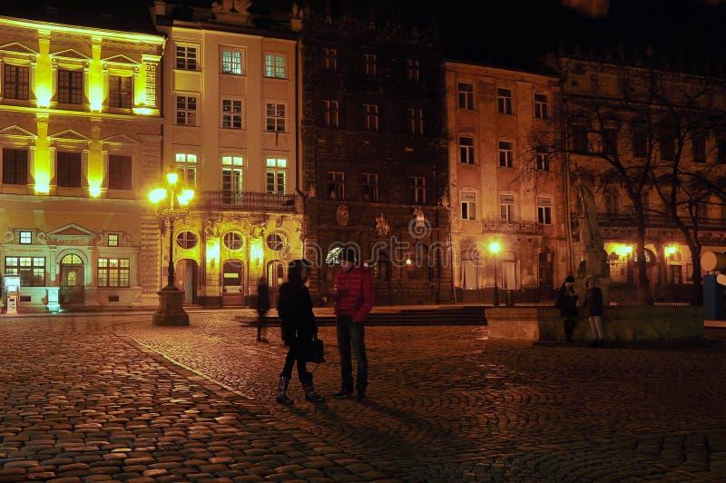 Cuadrado central de Lviv fotos de archivo libres de regalías