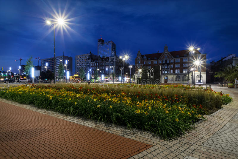 Cuadrado central del Katowice por la tarde imágenes de archivo libres de regalías