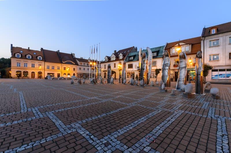 Cuadrado central en Zory después de la puesta del sol imagen de archivo libre de regalías
