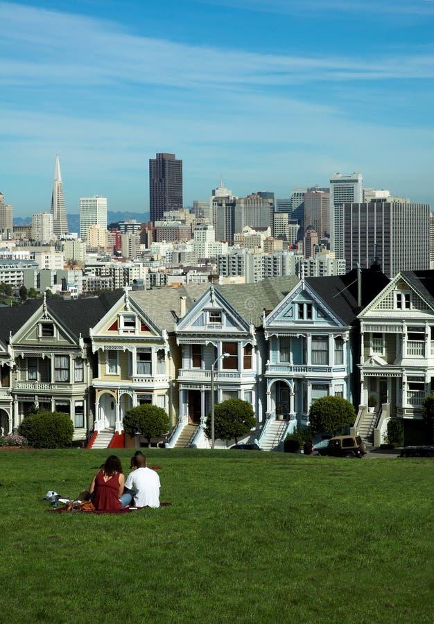 Cuadrado de Álamo, San Francisco fotografía de archivo