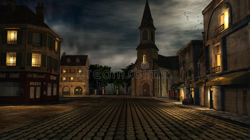 Cuadrado de ciudad en la noche stock de ilustración