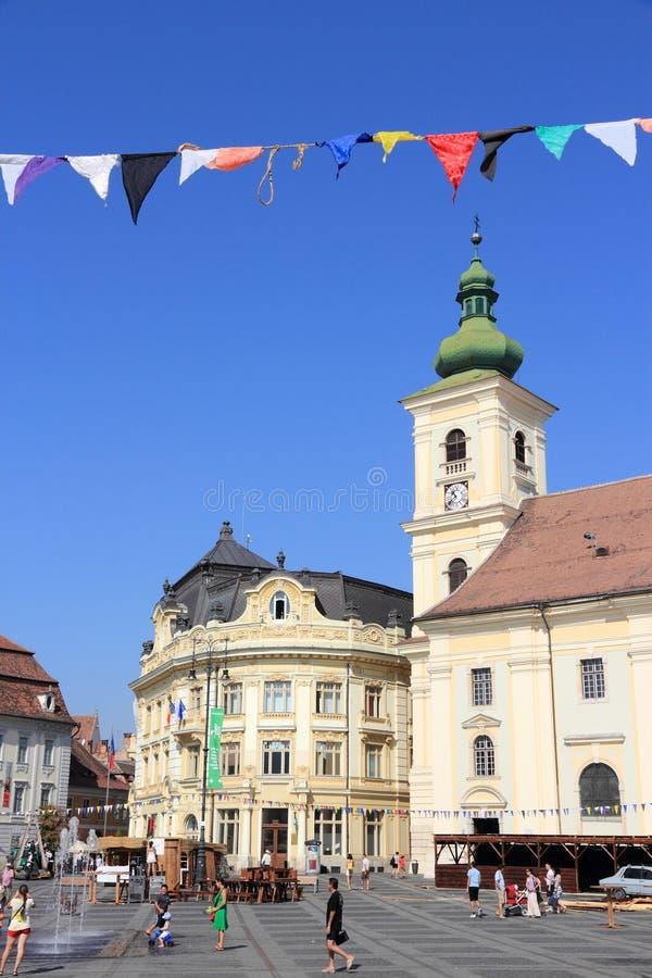 Cuadrado de ciudad de Sibiu fotografía de archivo