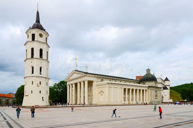 Cuadrado de la catedral, Vilna, Lituania fotografía de archivo libre de regalías