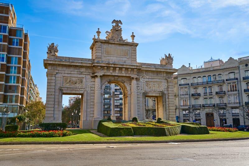 Cuadrado de la puerta de marcha del la de del porta de Valencia Puerta imagen de archivo libre de regalías