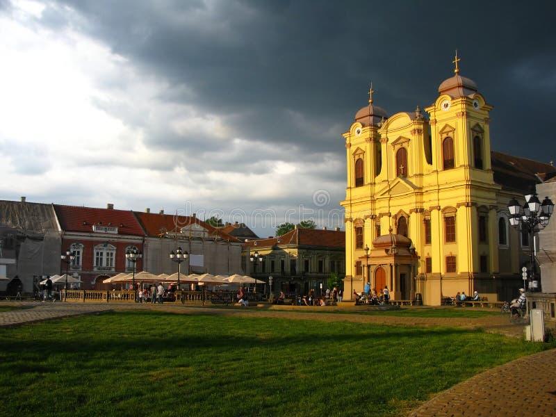 Cuadrado de la unión, Timisoara, Rumania imagenes de archivo