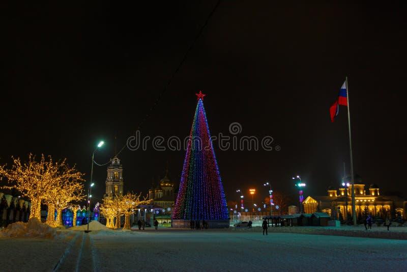 Cuadrado de Lenin - el cuadrado de ciudad se adorna con las luces del Año Nuevo, los árboles de los corderos y la bandera del árb fotografía de archivo