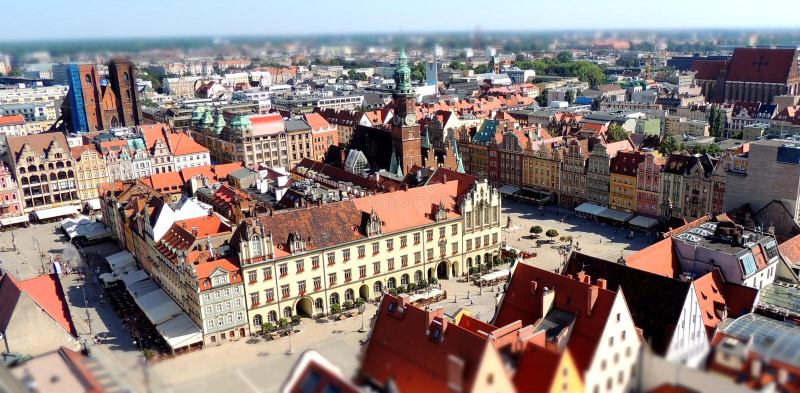 Cuadrado de mercado en el Wroclaw fotografía de archivo
