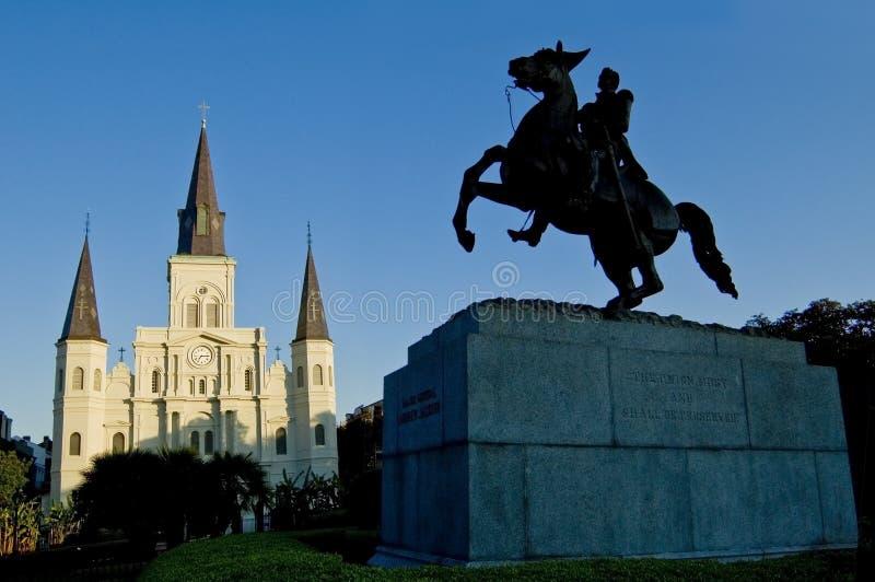 Cuadrado de New Orleans Jackson, catedral de St. Louis foto de archivo libre de regalías