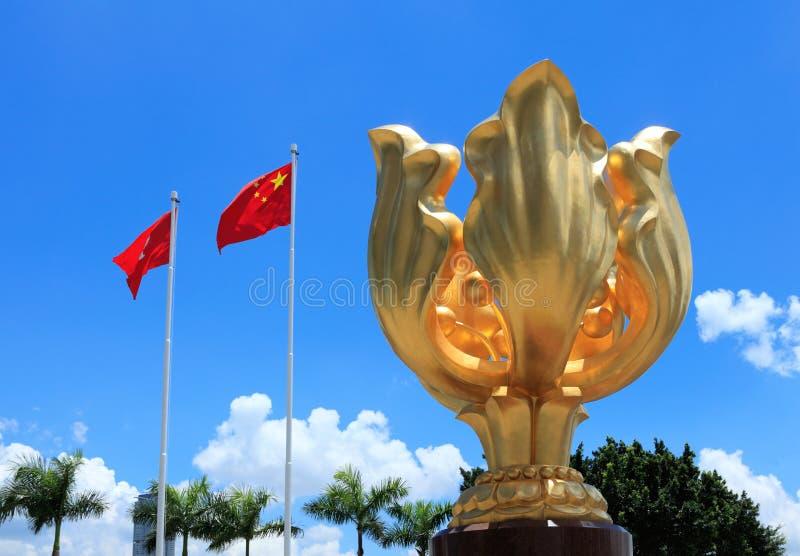 Cuadrado de oro del bauhinia en Hong Kong imagen de archivo libre de regalías