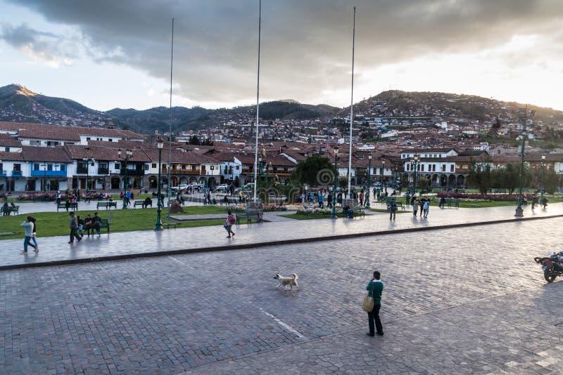 Cuadrado de Plaza de Armas en Cuzco, Perú imágenes de archivo libres de regalías