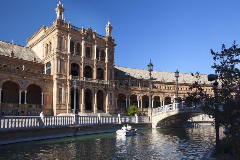 Cuadrado de Plaza de Espana España en el Parque de Mara Luisa, Sevilla, España, 2013 fotografía de archivo